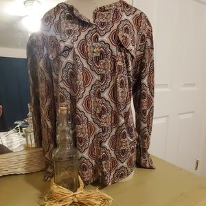 Gray/orange patterned blouse